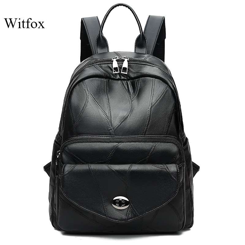 Witfox genuine leather bag  Preppy Style Backpack for college school bag pack carry book package sac transparent femme bagsWitfox genuine leather bag  Preppy Style Backpack for college school bag pack carry book package sac transparent femme bags
