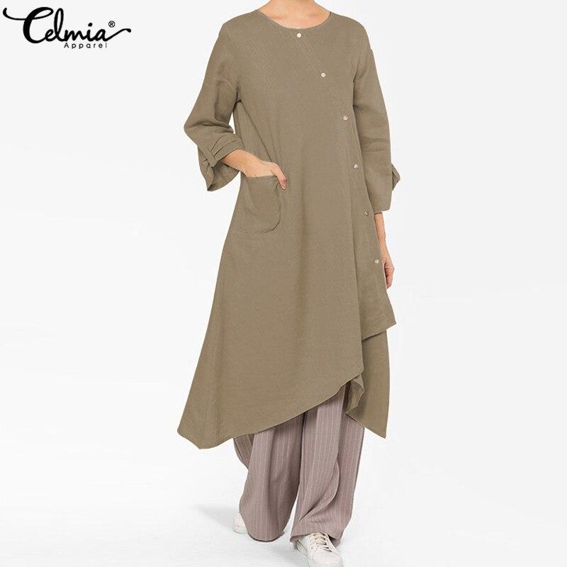 Celmia 2019 New Women Dress Short Sleeve Casual Asymmetrical Midi Dresses Summer Retro Loose Pockets Button Down Cotton Vestidos