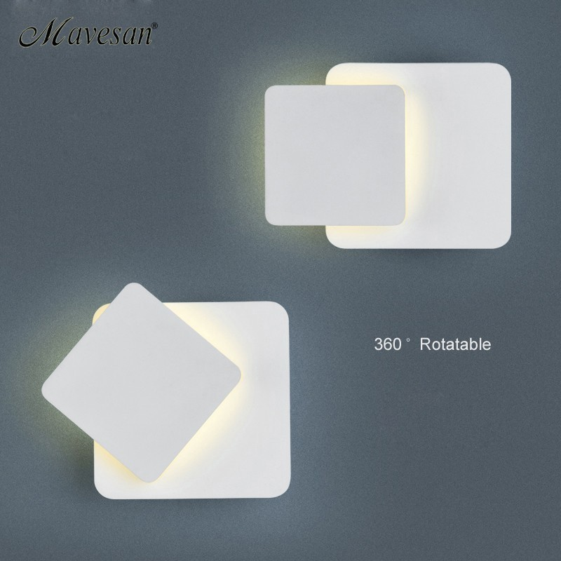 White black body Wall Lamps for Bedroom living room square AC90-260V Indoor Led Wall Light Rotatable Plated Metal 5W/16W Sconce