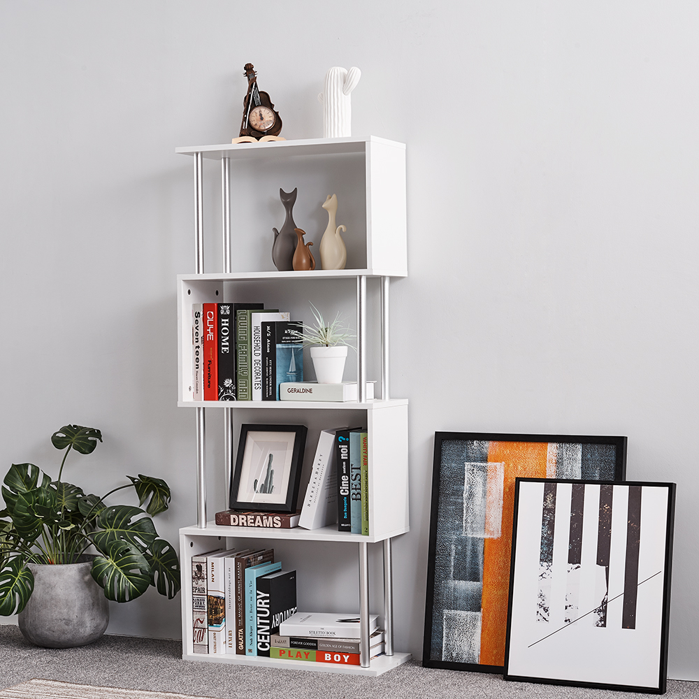 Panana S Shape Wooden 4 Tiers Storage Display Unit Bookshelf Bookcase Landing Creative Living Room Storage RacksPanana S Shape Wooden 4 Tiers Storage Display Unit Bookshelf Bookcase Landing Creative Living Room Storage Racks