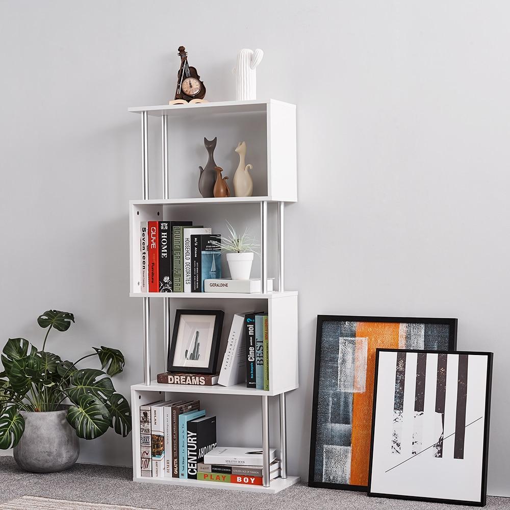 Panana S Shape Wooden 4 Tiers Storage Display Unit Bookshelf Bookcase Landing Creative Living Room Storage Racks