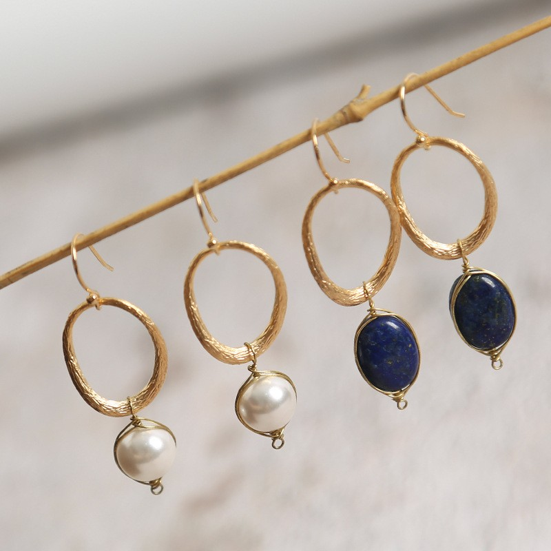 2019 Vintage Handmade Gold Color Woman's Drop Earrings with 925 Silver Hook Freshwater Baroque Pearl or Blue Color Lapis Lasuli