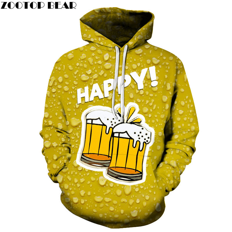 Happy Beer 3D Printed Spring Casual Hoody Sweatshirts Men Tracksuit Hoodies Pullover Streetwear Cloth Unisex DropShip ZOOTOPBEAR