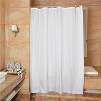 6x6 feet White Plastic Waterproof PEVA Shower Curtain Soft Durable Quick Drying with 12 PCS Solid Plastic Hooks