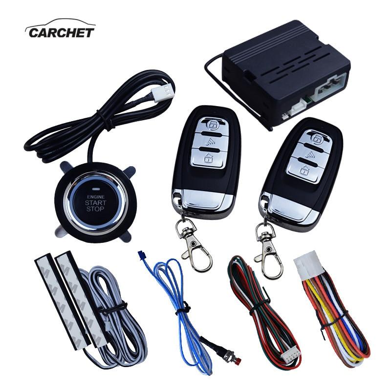 CARCHET 12 V voiture SUV sans clé entrée moteur démarrage système d'alarme système Anti-thfet un démarrage arrêt bouton poussoir avec télécommande