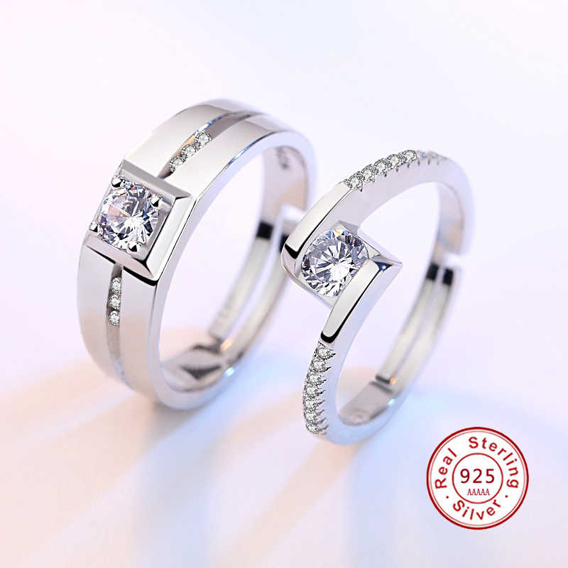 Romantic Couple Ring Best Quality 925 Sterling Silver Stamp Cubic Zirconia Women Engagement Rings Wedding Jewelry JN0343