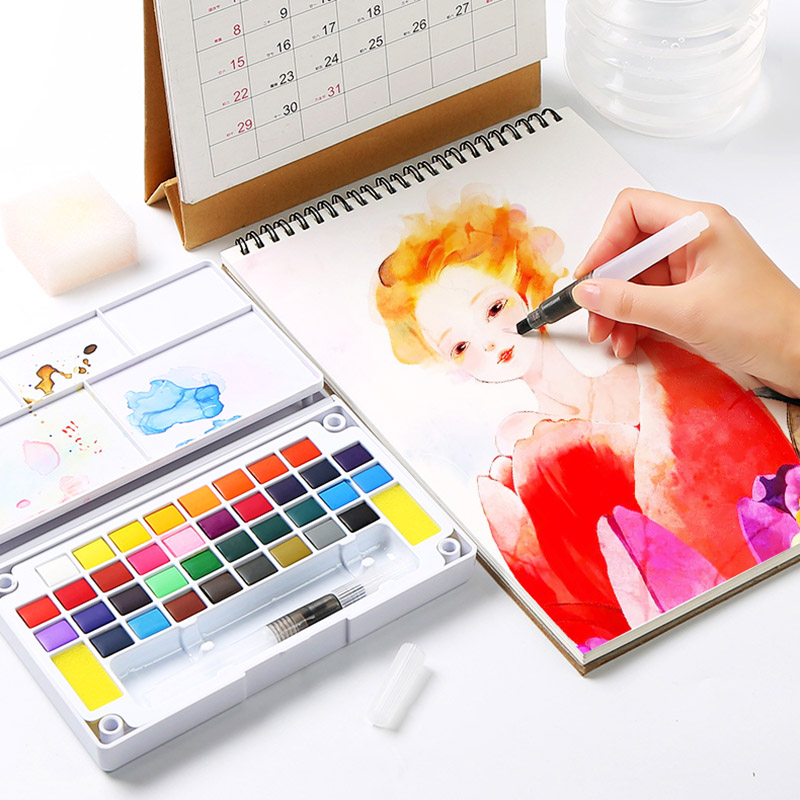 12/18/24/36 Colors Professional Watercolors Pigment For Drawing Portable Solid Watercolor Paints Set With Brush Art Supplies