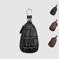 Genuine Leather Men Key Wallet Male Car Key Bag Keys Holder Crocodile Pattern Key Case Large Capacity Organizer Small Wallets