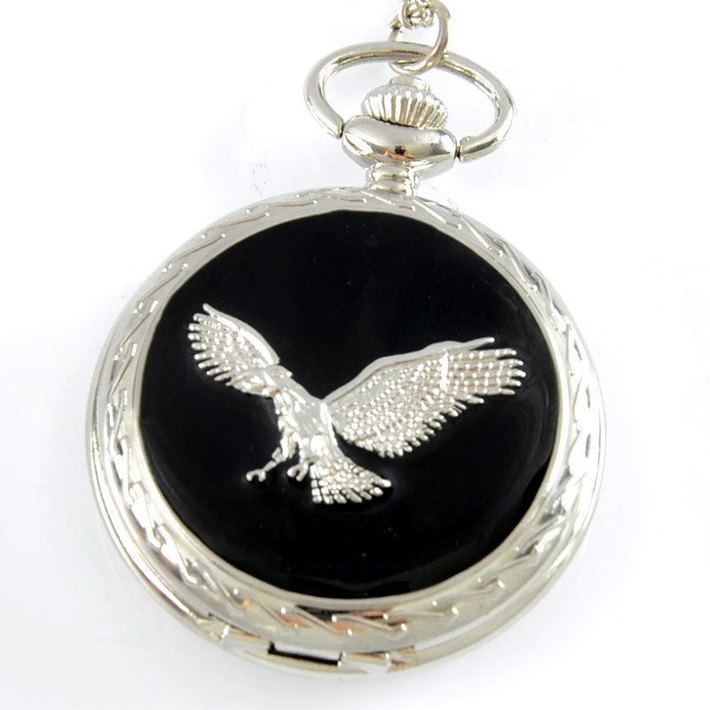 Eagle Theme Full Hunter Quartz Engraved Fob Retro Pendant Pocket Watch Chain Gift