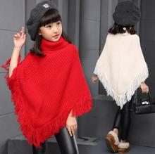 Fashion Autumn Winter Baby Teenage Cape Shawl Cloak Clothes Girls Pullover Sweaters Kids Knit Tassel Sweaters Tops girls sweaters knit tassel sweater dresses kids girls knitting fashion jumper dress kid verkleed kostuum meisjes clothes yl468