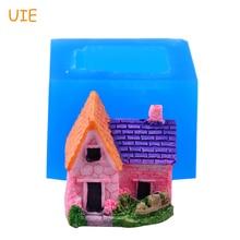 FYL548U 28,9 мм 3D дом силиконовые пресс-формы для украшения торта инструменты, помадка, кукольный домик, полимерная глина, свечи, Жевательная паста, форма для мыла