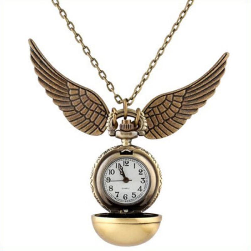 Retro Elegant Golden Snitch Quartz Fob Pocket Watch With Sweater Necklace Chain Wings Pendant Necklace Clock Birthday Gift handbag