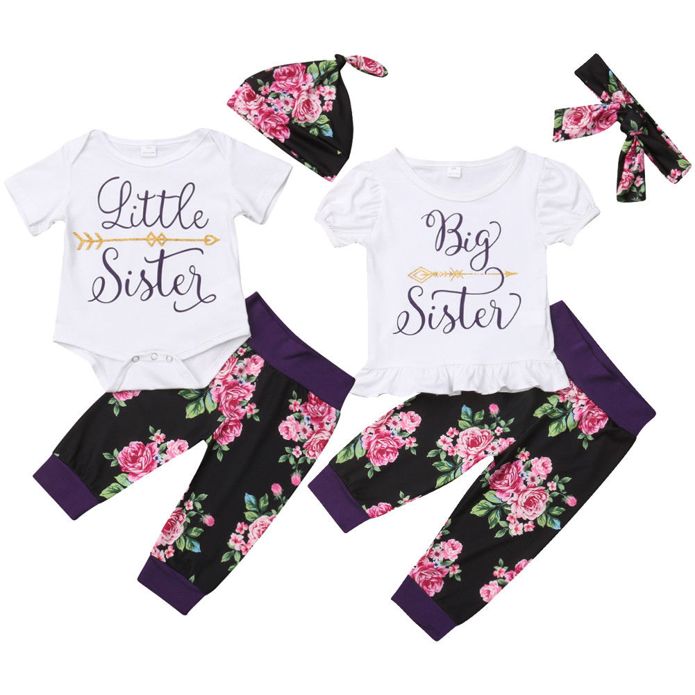 Family Matching Floral Set Baby Kids Sister Short Sleeve Bodysuit T-Shirt Top Pant Leggings Headband Sisters Casual Outfits Sets cut out front trumpet sleeve floral mesh bodysuit