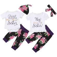 Family Matching Floral Set Baby Kids Sister Short Sleeve Bodysuit T-Shirt Top Pant Leggings Headband Sisters Casual Outfits Sets