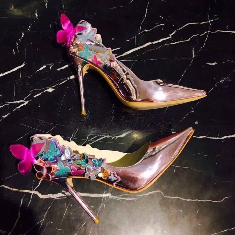 Black Talons Cuir Mariage Peu Bouche Chaussures blue Luxe À Fleur Papillon sky Profonde Blue Bout Femmes Hauts Lady De Pompes Miroir Rose Pointu En nOHtxZ