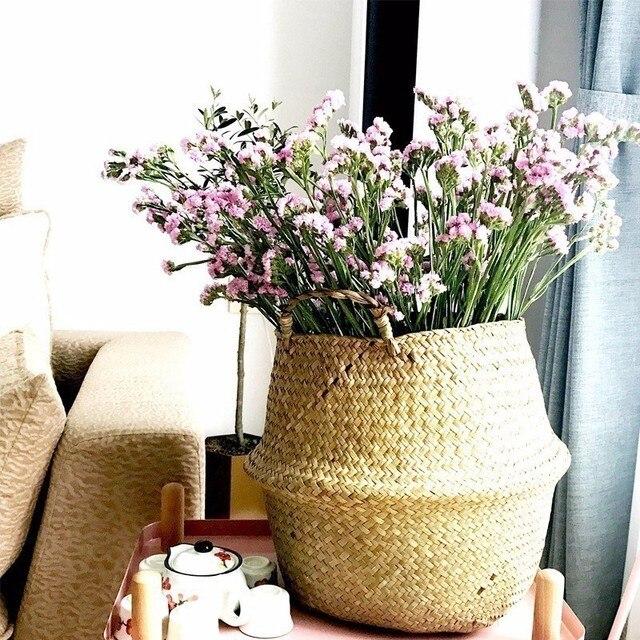 Seagrass Cestaria Rattan Vaso Vaso de Flores e Plantador de Suspensão Dobrável Tecido Cesto de roupa Suja Cesta De Armazenamento Decoração Da Sua Casa