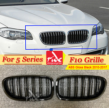 F10 Grille ABS Gloss Black For 5-series Double Slats Front Grills 520i 528i 530 535i 540i Bumper Kidney 2010-17