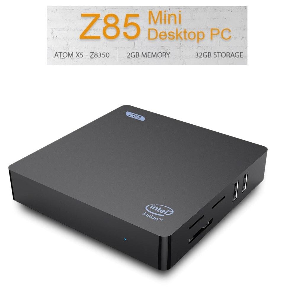 Z85 Mini PC TV Box 2+32GB / 64GB Dual screen Display 2.4 / 5.8GHz WiFi Ethernet 1000Mbps BT4.0 Intel Atom x5 Z8350 Set top Box