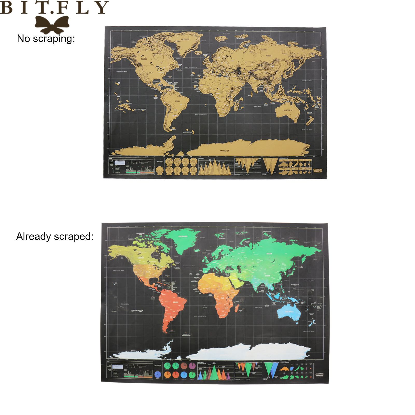 BITFLY 1 PCS Scratch Map New Design Black Deluxe Maps Travelwr Scratch Off World Best Gift for Education School Office Supplies image
