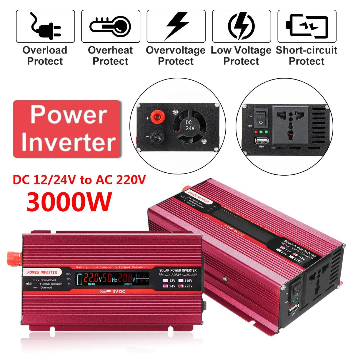 12/24 В к AC 220/110 В автомобиля мощность Инвертор пик 4000 Вт USB изменение синусоида конвертер напряжение трансформатор защиты Алюминий Красный