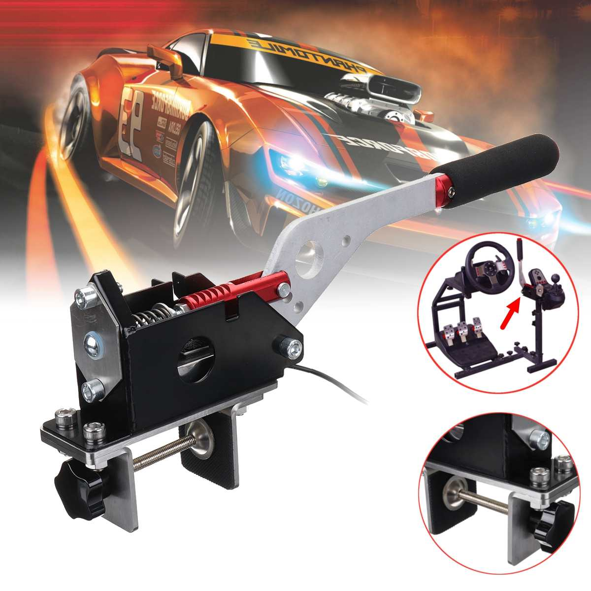 USB Handbrake SIM PC Windows Clamp for Racing Games G25/27/29 T500 FANATECOSW DIRT RALLY without Fixture image