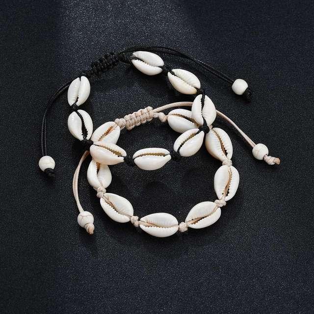 Heißer Verkauf Handgemachte Natürliche Muschel Hand Stricken Armband Shell Armbänder Frauen Zubehör Perlen Strang Armband Besten Freund Geschenke