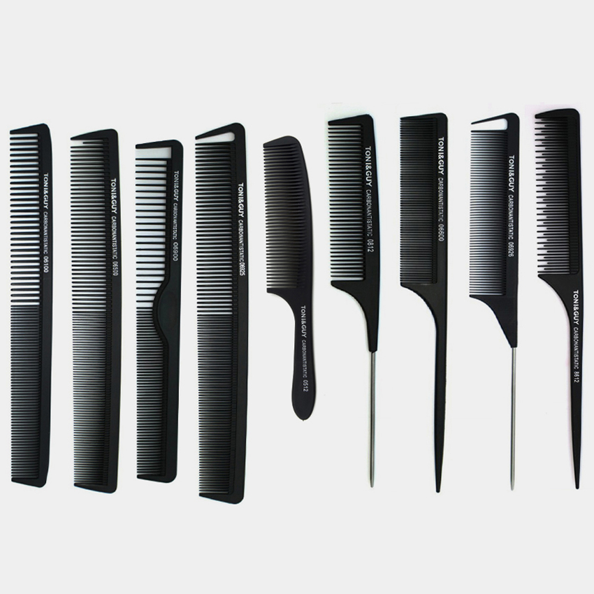 9 st Kam Set Professional Hair Cut Carbon Comb i olika design, kol Antistatic Comb Set för salong CT-08