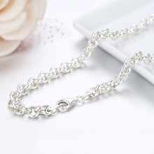 """20"""" 32"""" Real Pure 925 Sterling Silver Circle Rolo Chains Necklace For Women Girls Men Jewelry Ketting Kolye Colier 50 80cm 5mm"""