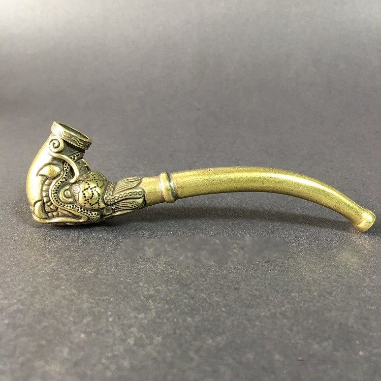 Chinese Antique Brass pipe Engraving eagle lion