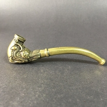 Collectable Chinese Brass Carved Dragon Head Pipe Dragon Phoenix Pipe Tobacco Pouch  Exquisite Small Statues
