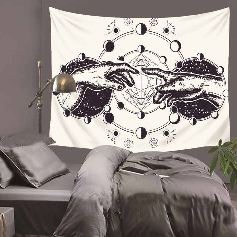 Planet hand drawn black white Tapestry Home Decorations Wall Hanging Forest Starry Night Tapestries For Living Room Bedroom