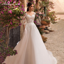 Ashley Carol Sexy V-neck Wedding Dresses Beach Sweep Train