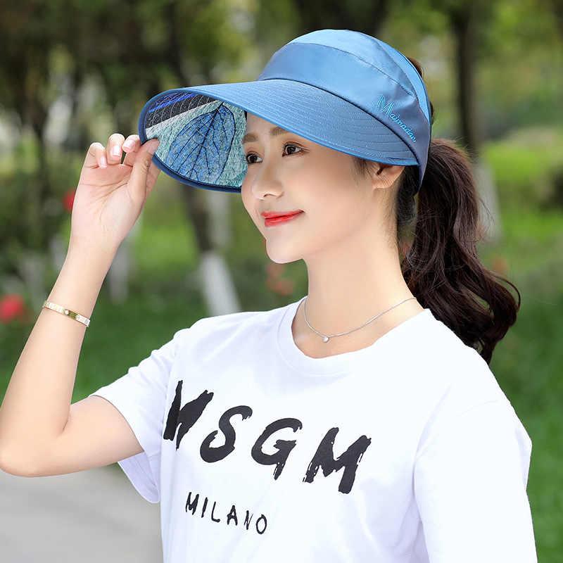 1920a1ed57f87 2019 Hot 1PCS Women Summer Sun Hats Pearl Packable Sun Visor Hat With Big  Heads Wide
