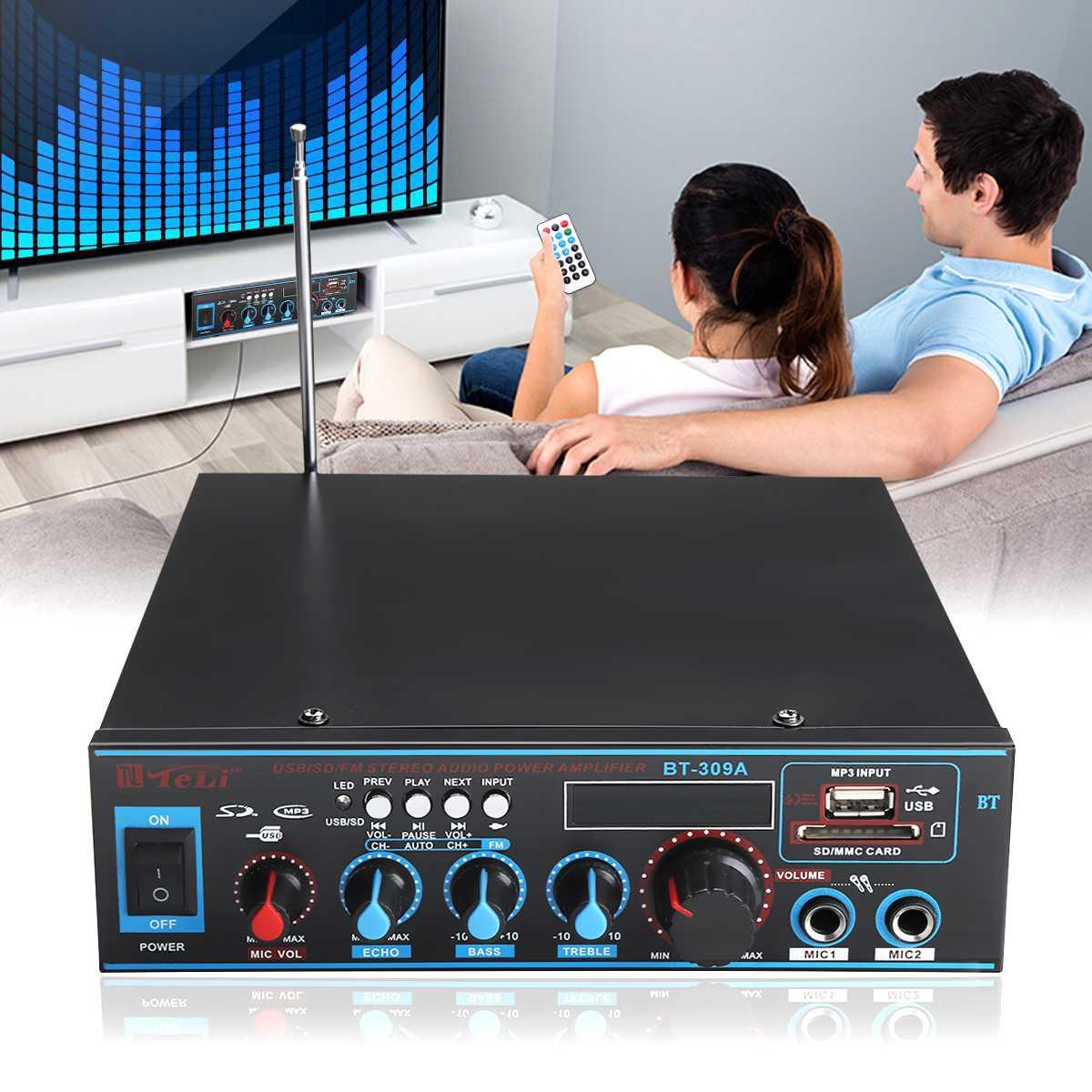 Аудио усилитель звука 220 В/12 в bluetooth цифровой USB FM SD Mic Главная Автомобиль совместимый светодиодный дисплей воспроизведения ЕС Plug отрегулиров...