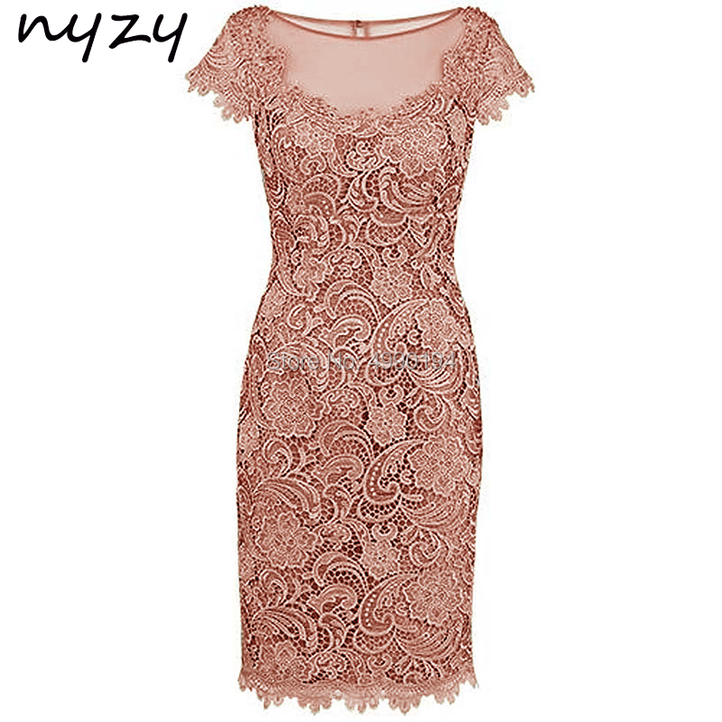 NYZY M47 Sheath Short Sleeves Lace Pink Mother Of The Bride Dress Wedding Party Dress Groom Mother Outfits Godmother Gown 2019