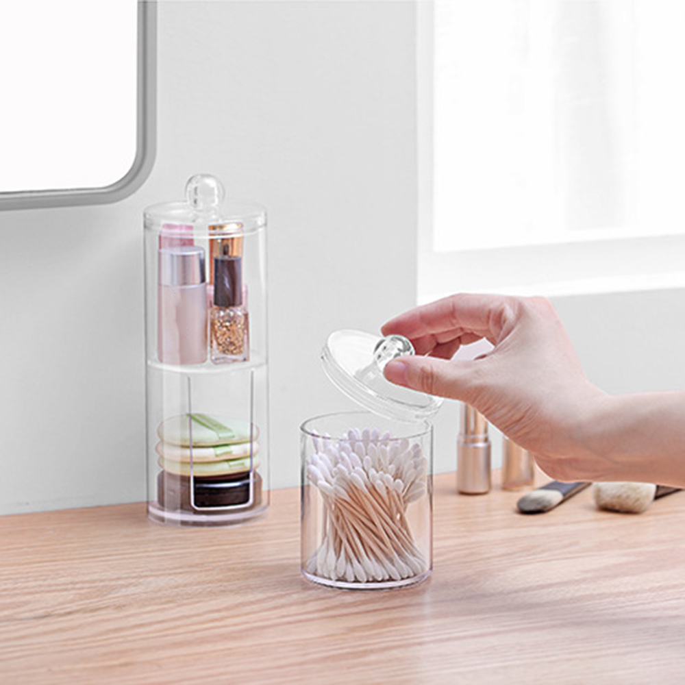 2019 New Bathroom Acrylic Storage Box Transparent  Cosmetic Makeup Organizer  Plastic Container Cotton Swabs Cotton Pad Holder