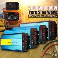 Инвертор 12 В 220 В 6000 Вт 5000 Вт 4000 Вт 3000 Вт 2000 Вт Pe ak Чистая синусоида напряжение трансформатор конвертер в 110 В 60 инвертор для солнечной батареи