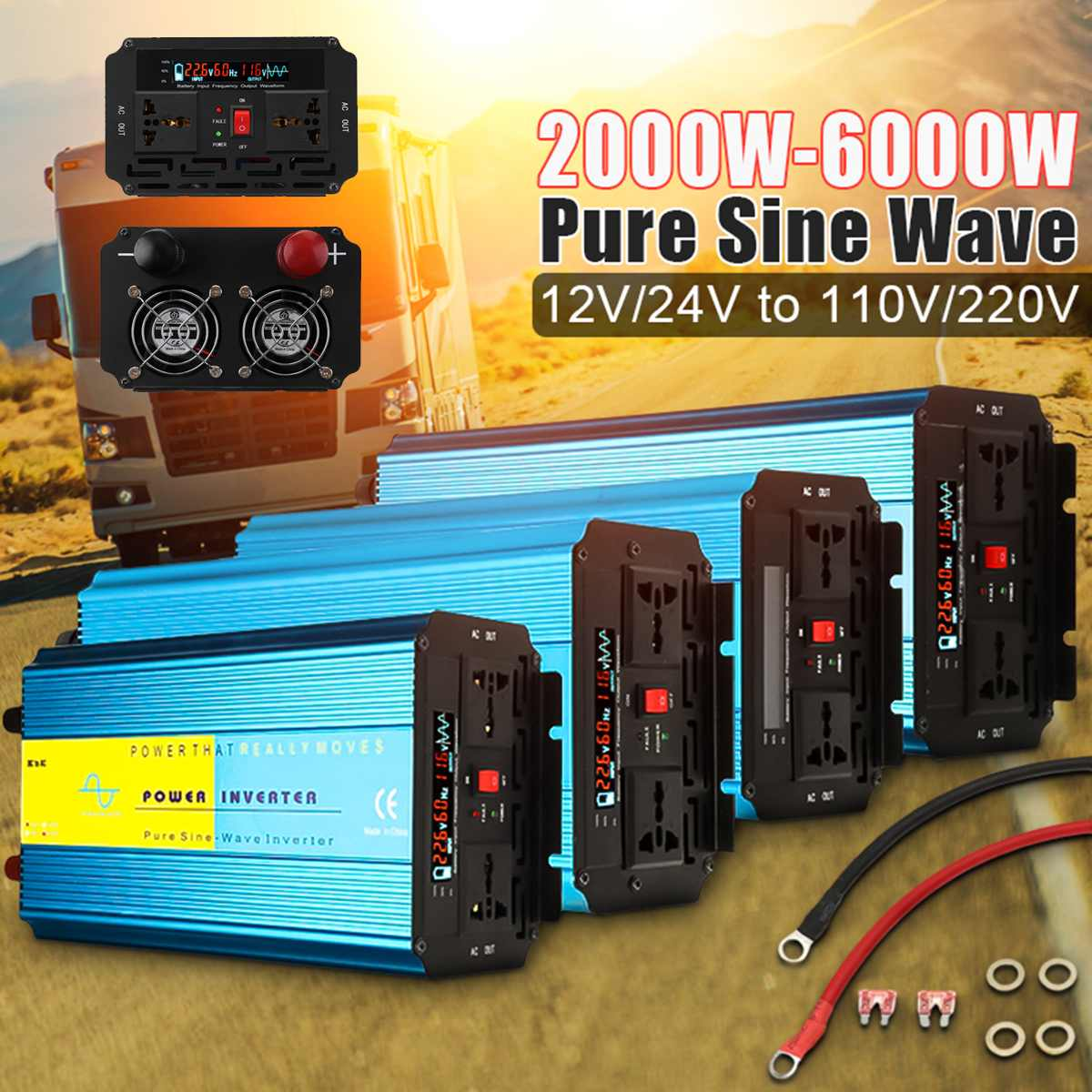 Inverter 12V 220V 6000W 5000W 4000W 3000W 2000W Pe ak Pure Sine Wave Voltage Transformer Converter 12V 110V 60Hz Solar InverterInverter 12V 220V 6000W 5000W 4000W 3000W 2000W Pe ak Pure Sine Wave Voltage Transformer Converter 12V 110V 60Hz Solar Inverter