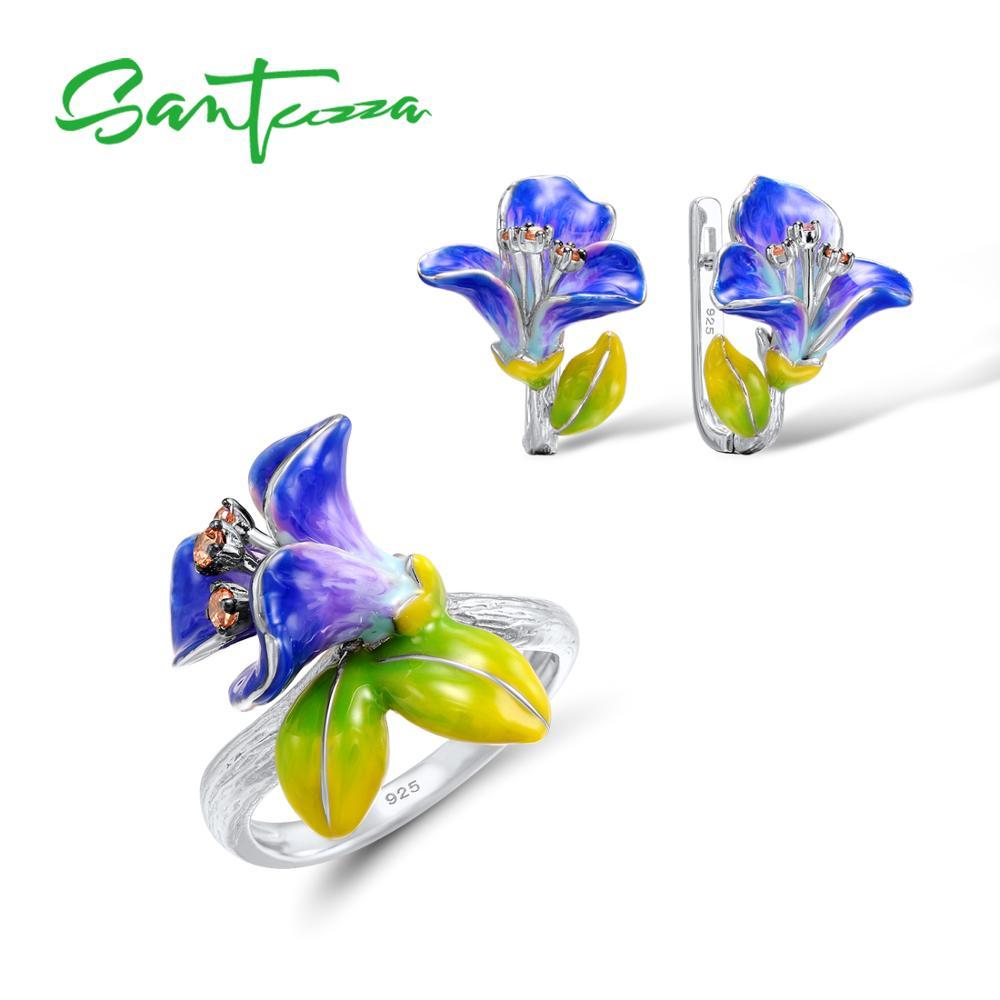 SANTUZZA Jewelry Set For Woman 925 Sterling Silver Purple Blue Flower Morning Glory Earrings Ring Set