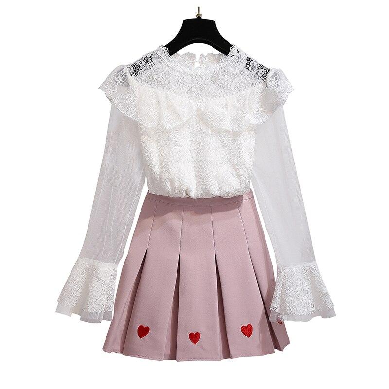 Femmes 2019 mode coréenne costume broderie jupe plissée et blanc dentelle blouse top vêtements ensemble deux pièces tenue vestido fille tissu