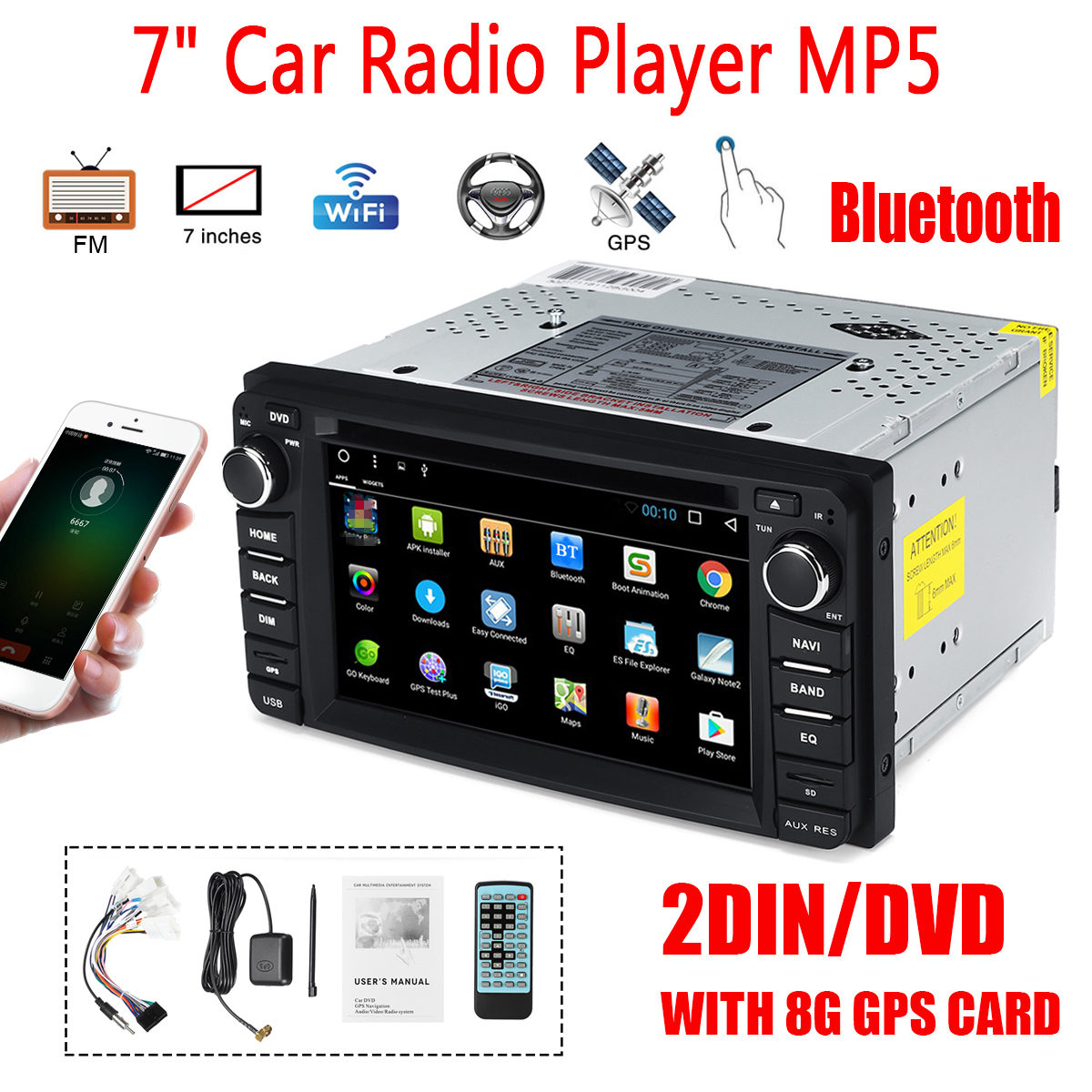 Lecteur multimédia de voiture 7 pouces 2 DIN 8G carte GPS bluetooth WiFi FM DVD autoradio MP5 lecteur DVD CD écran tactile pour Toyota