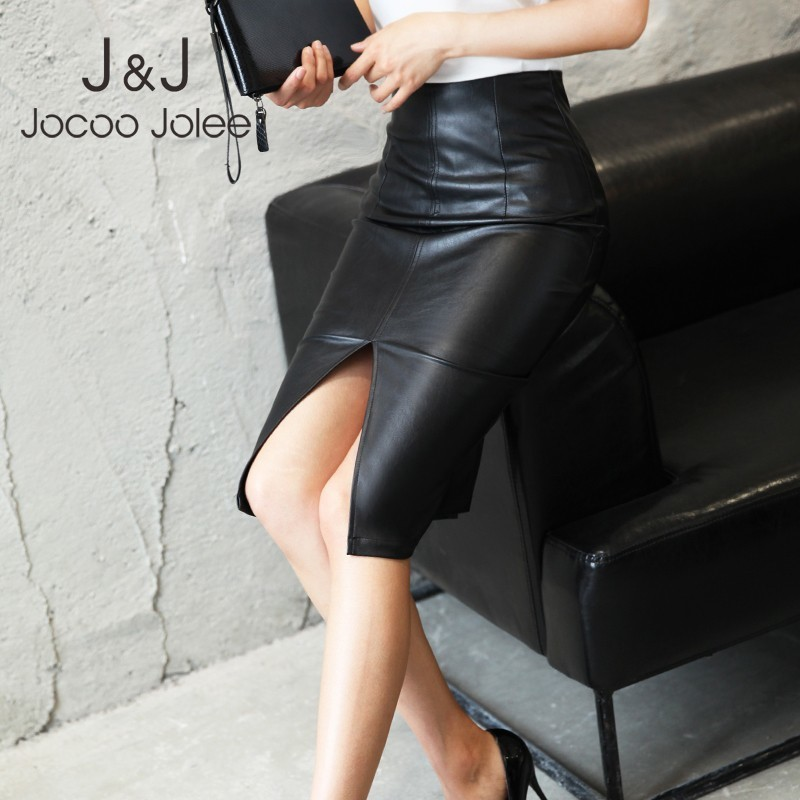 Women PU Leather Skirts 2019 Plus Size 5XL Office Lady Knee-length Pencil Skirt Female Package Hip Front or Back Slit Skirt image