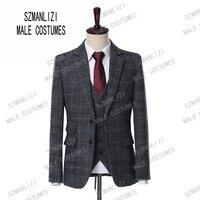2019 Wool Grey Herringbone Retro Gentleman Style Custom Made Tweed Plaid Men Groom Wedding Suits Blazer Suits For Men 3 Pieces