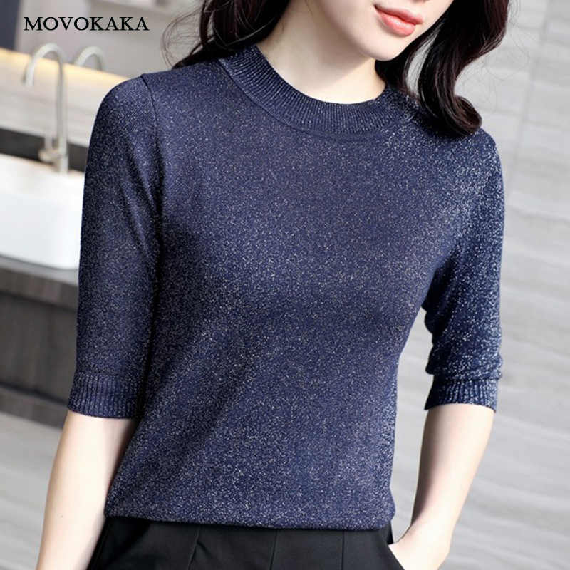 c0a8ca8c8a3 Spring Autumn Shiny Lurex Knit Sweater Women Cropped Short Sleeve Fashion Women  Sweaters And Pullovers O