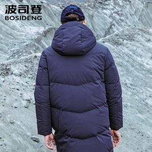 Image 2 - Bosideng 남성 후드 롱 다운 재킷 겨울 오버 무릎 패션 캐주얼 고품질 다운 코트 방수 파카 b80142015