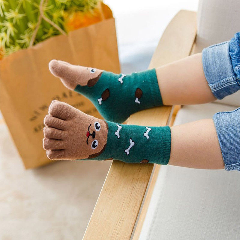New Arrival Warm Autumn Socks Toddler Baby Girls Boys Hosiery Toe Socks Cute Kids Cartoon Animal Cat Rabbit Five Fingers Sock