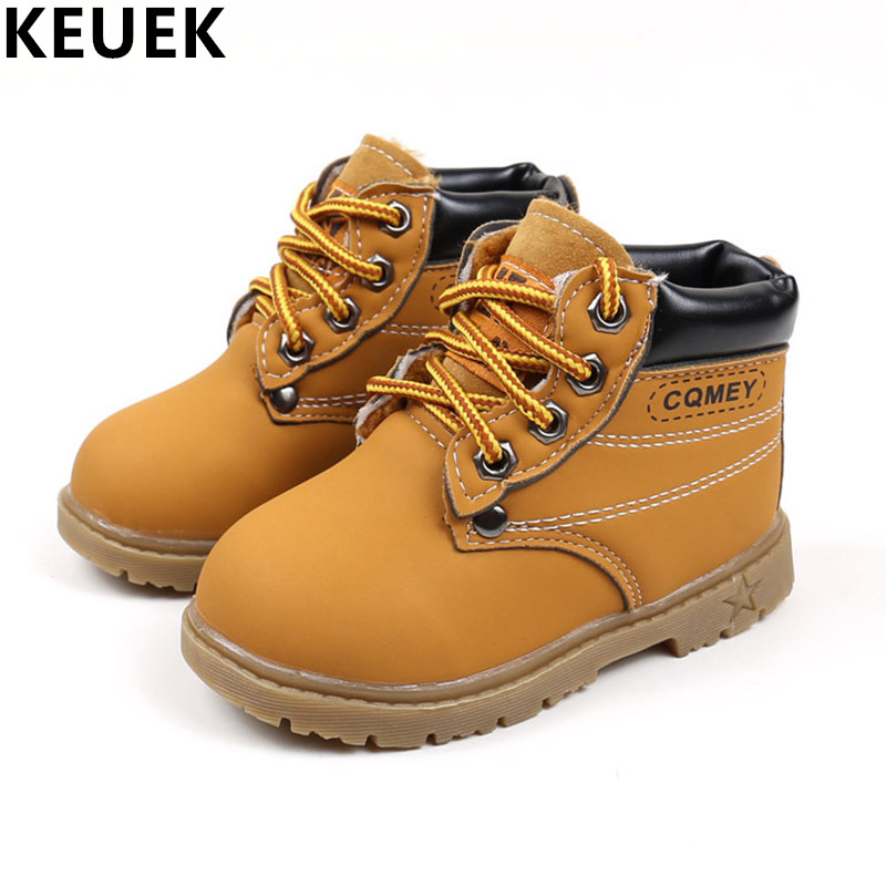Spring Autumn Children Ankle Boots Winter Girls Boots Boys Plush Snow Motorcycle Boots Lace-Up Rome Boots Kids Shoes 03B