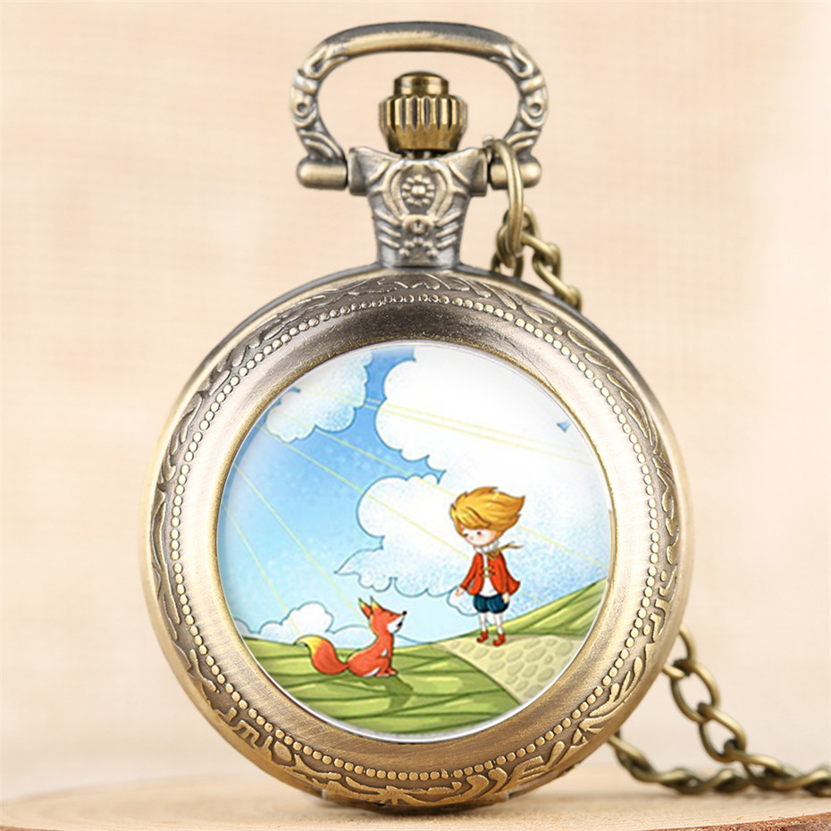 The Little Prince Quartz Pocket Watch Full Hunter Exquiste Vintage Necklace Clock Top Birthday Item Gifts For Children Boy Girl