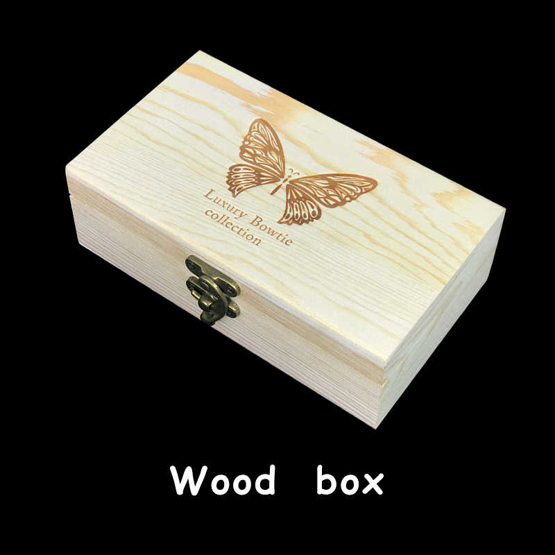 Jerman Desain Asli Hitam Kuning Bulu Burung Dasi Handmade Dasi Kupu-kupu Bros Hadiah Kotak Kayu Combo untuk Pria Pesta Pernikahan