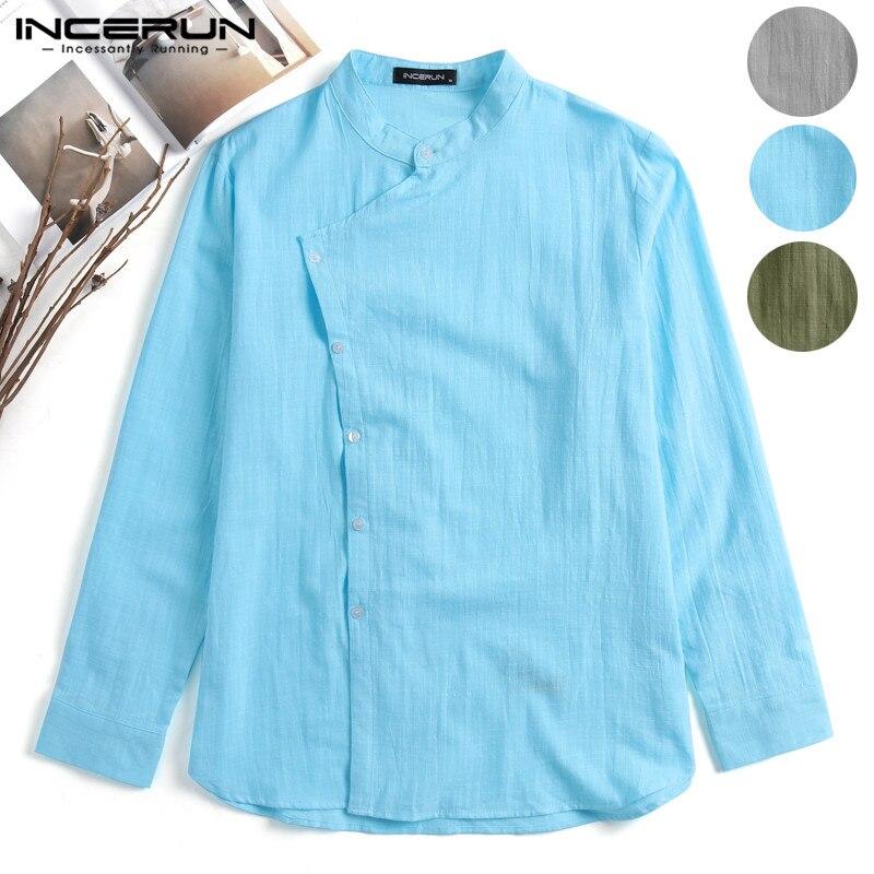 INCERUN Vintage Mens Shirts Dress Long Sleeve Stylish Plain Tee Tops Mandarin Collar Male Clothing Camisas Masculina Chemise 5XL